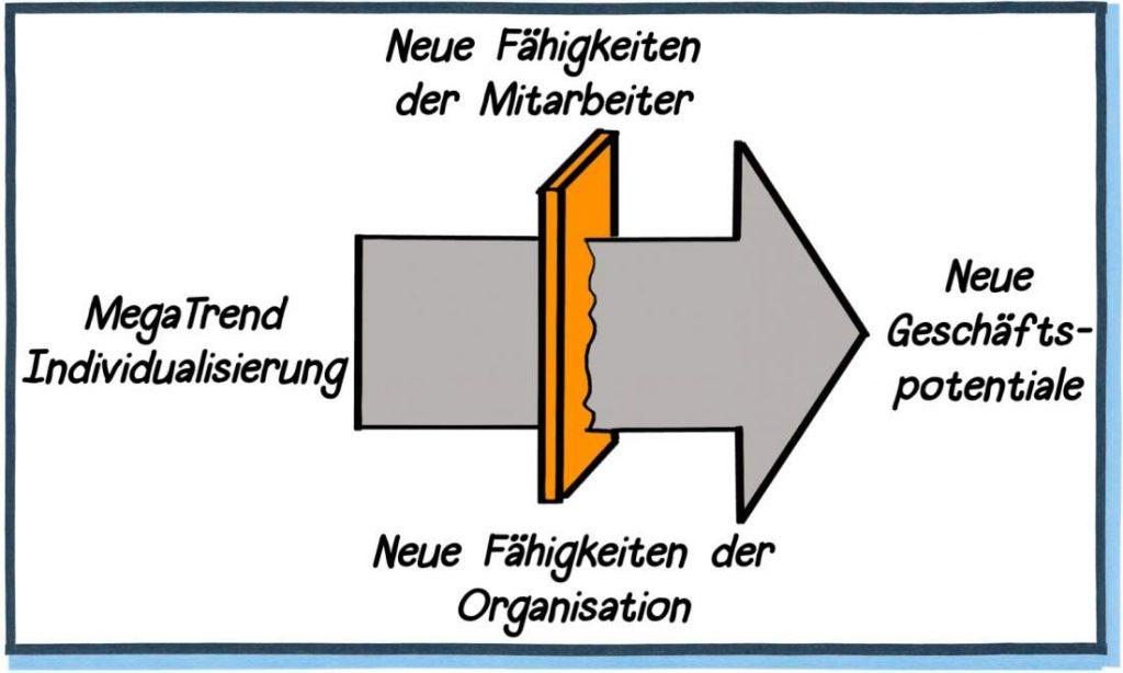 Megatrend Individualisierung, Neue Fähigkeiten der Mitarbeiter, Geschäftspotentiale, Fähigkeiten der Organisation, Fähigkeiten im Unternehmen, Customization