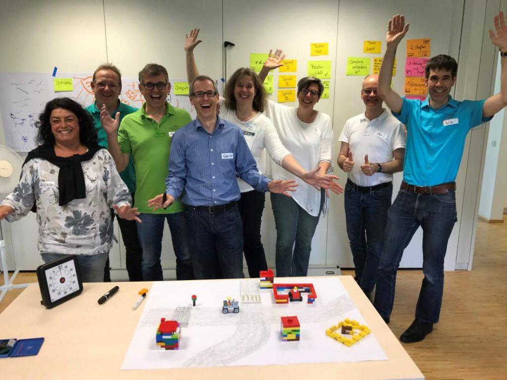 Gruppenbild, Fortbildung, Scrum Master Training, Werner Siedl, Patrick Müller, Arbeitsgruppe, Peter Pollack, Training, Design Thinking