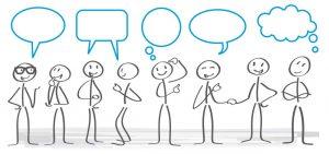 Strichmännchen, Sprechblasen, Informationsaustausch, Zusammenarbeit, ICT, Projektkommunikation, digitale Kommunikation, Herausforderungen und Risiken bei der Collaboration