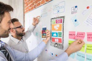 Start-up-Kultur, Agile Management, Prototyp, Software-Entwicklung, App-Design, App, Board, Post-its