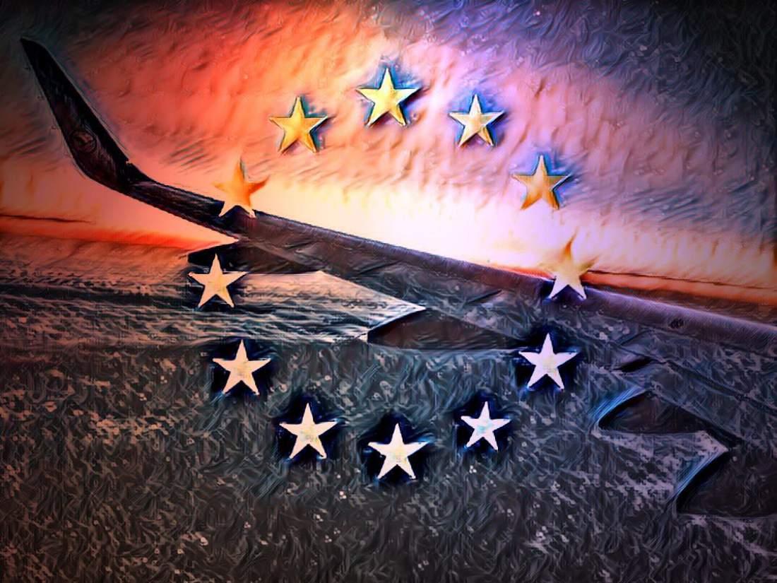 Flugzeug, Europa, Sterne, europäische Flagge, Emblem, Flügel, gesetzliche Neuregelung, Europäische Datenschutzgrundverordnung, EU DSGVO Daten, Zustimmung, Einwilligung