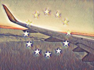 Flugzeug, Europa, Sterne, europäische Flagge, Emblem, Flügel, gesetzliche Neuregelung, Europäische Datenschutzgrundverordnung, EU DSGVO Einwilliung, personenbezogene Daten, Auftragsverarbeitung, Maßnahmen Unternehmen EU DSGVO