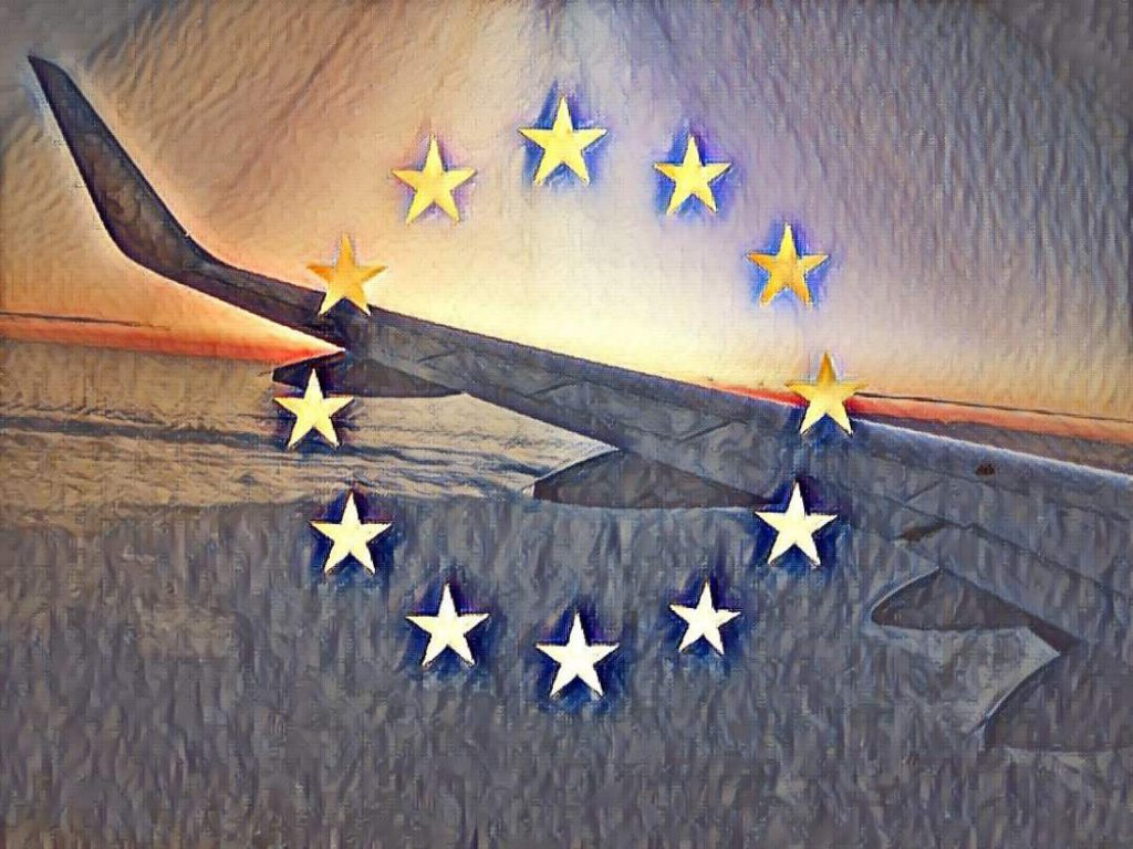Flugzeug, Europa, Sterne, europäische Flagge, Emblem, Flügel, gesetzliche Neuregelung, Europäische Datenschutzgrundverordnung, EU DSGVO Motivation, EU DSGVO Herausforderungen, EU DSGVO Fazit, EU DSGVO Ausblick