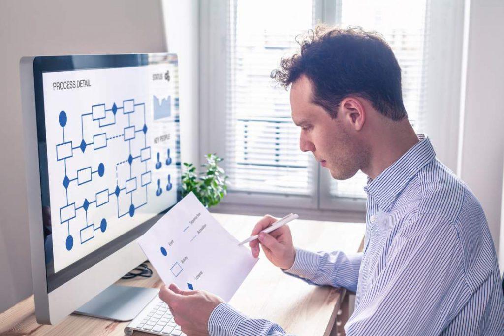 Mann, Schreibtisch, Unterlagen, Dokumentenmanagement, Bildschirm, Flowchart, Zimmerpflanze, Fenster, Lichteinfall, ARbeitsplatz, Digitalisierung, digitale Transformation, dokumentbezogene Geschäftsprozesse, Kollaboration im Unternehmen verbessern