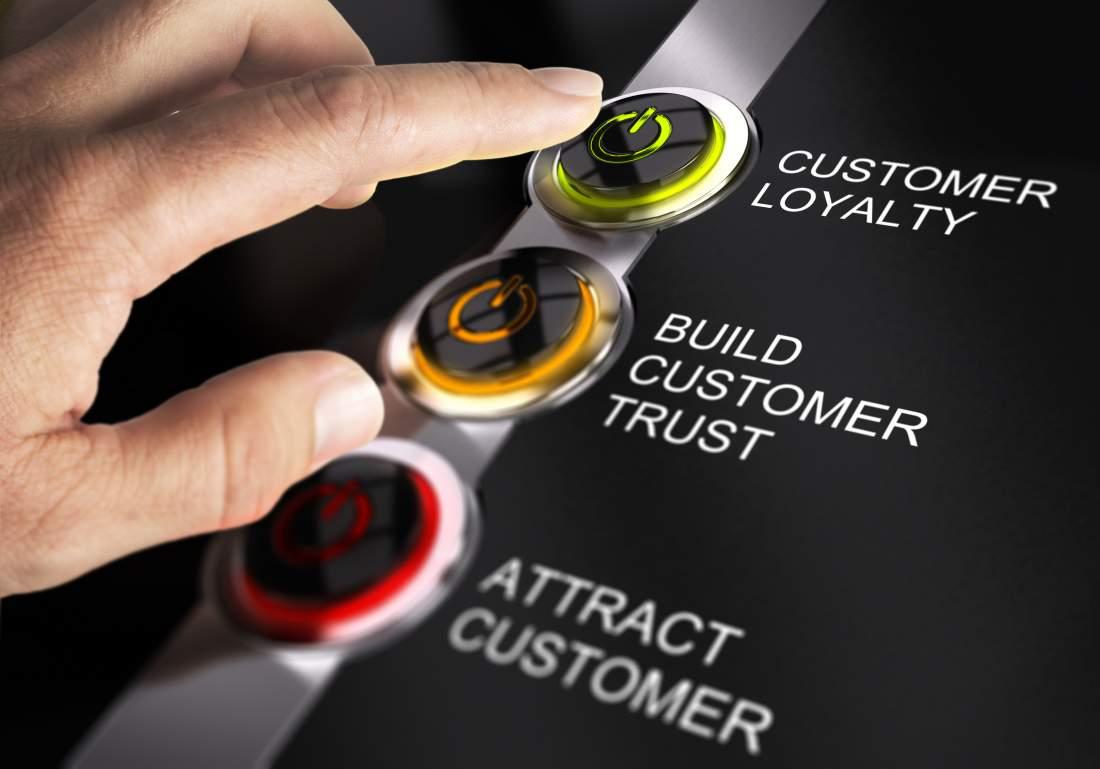 Tasten, Knöpfe, Einschalten, Customer Loyalty, Build Customer Trust, Attract Customer, Hand, Service Maturity, Customer Service Excellence, Customer Retention, Customization, Servitization