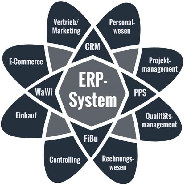 ERP-System, CRM, PPS, FiBu, WaWi, Personalwesen, Projektmanagement, Qualitätsmanagement, Rechnungswesen, Controlling, Einkauf, E-Commerce, Vertrieb / Marketing, ERP-Einführungen