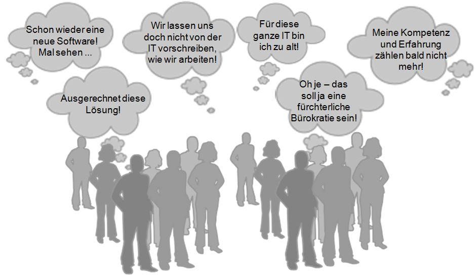 Menschen, Stimmen, Mitarbeiter, Beschäftigte, Grafik, Meinungsbild, negative Resonanz, Belegschaft, grau, Gedankenblasen, Ärgernis, Projektmarketing, ERP-Systemeinführung, IT-Implementierung, Change Management, Projektmanagement