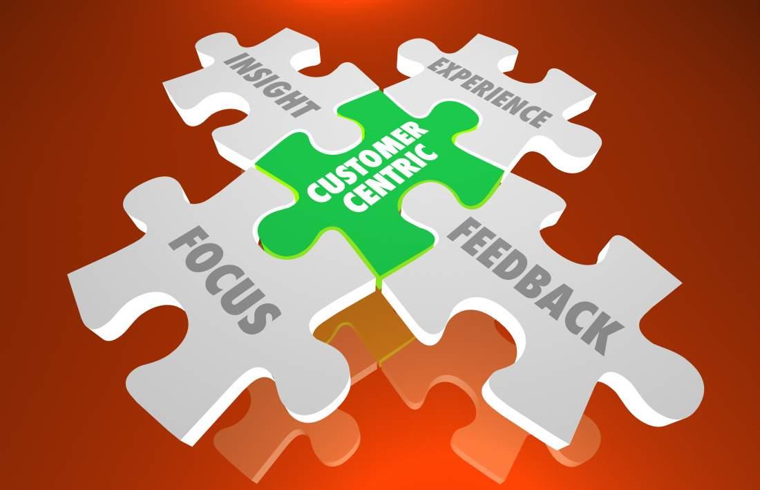 Puzzleteile, Customer Centricity, grün, weiß, Fokus Feedback, Insight, Experience, Customer Service Excellence, Customer Retention, Customer Loyalty, Customization, Servitization, Unternehmensführung, top-down Einstellung, Unternehmenskultur, Wettbewerbsfähigkeit, Digitalisierung, Kundenerwartungen, Zukunftsfähigkeit sichern