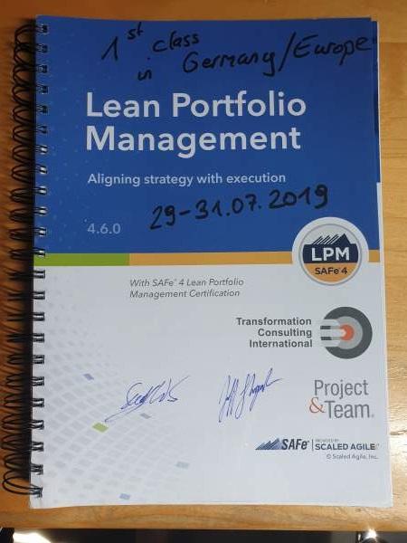 Schulungsmaterial zu Lean Portfolio Management Training im Juli 2019