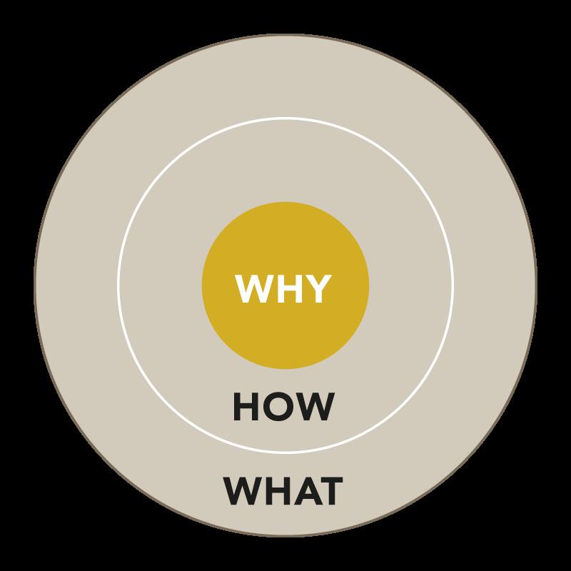Konzentrisches Kreisdiagramm im Konzept von Shared-LeaderShift© als Führungsmodell zur Unternehmensführung mit Why, How und What bzw. Purpose und Governance