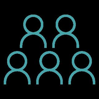 """Gruppe von fünf Personen-Icons stellt den """"Purpose & Strategy Leader"""" dar, Abbildung des Shared LeaderShift©-Modells"""