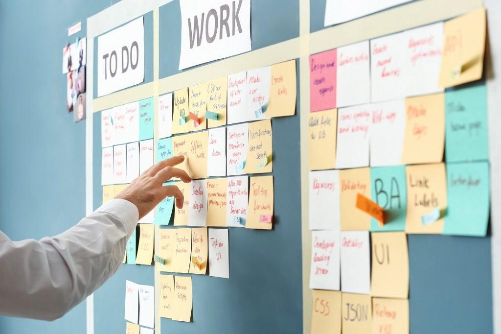 Scrum Board zum Einsatz agiler Methoden mit Post-its
