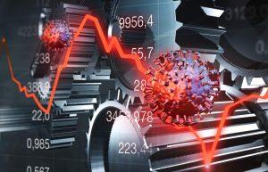 Corona-Virus kracht in Börsengraph in rot, im Hintergrund Zahnräder und Zahlenwerte