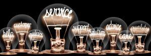 Leuchtende Glühbirnen mit englischen Schlagworten zu Service-Orientierung