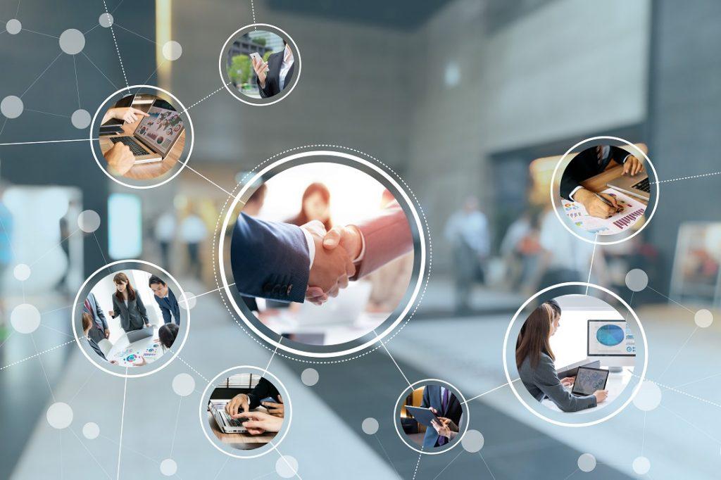 Handshake und verschiedene Office-Szenen in vernetzter Grafik