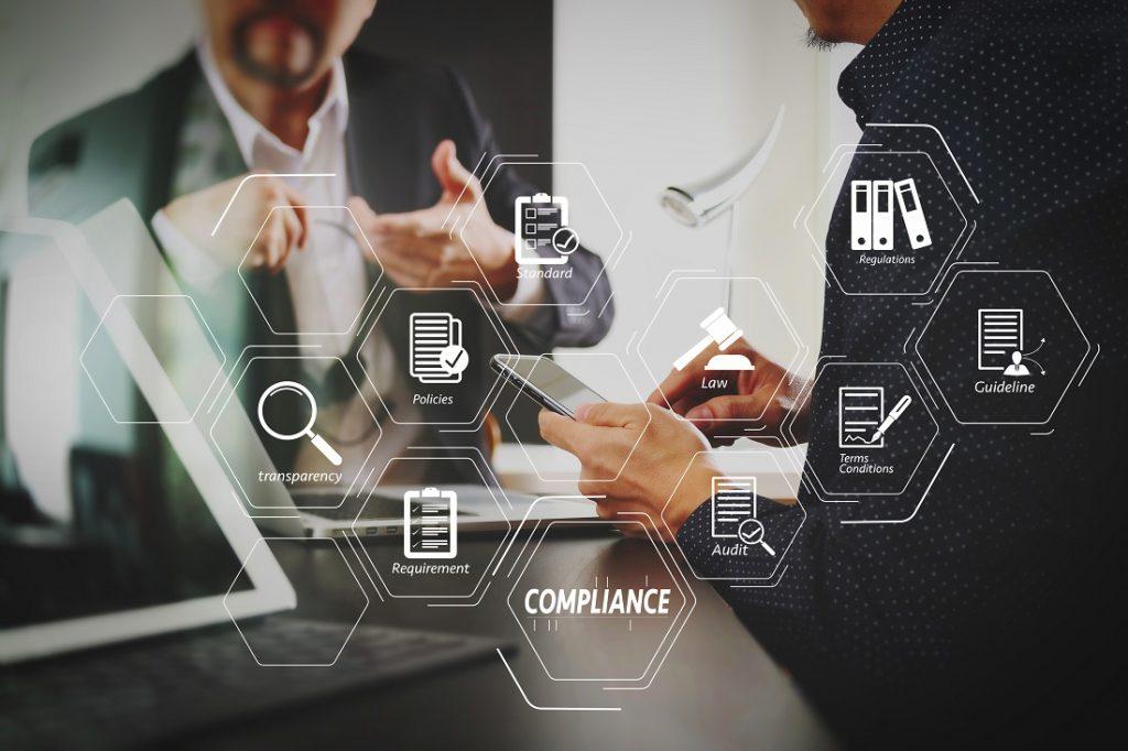 Begriffe rund um Compliance futuristisch dargestellt