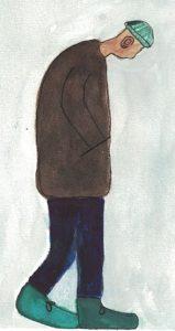 Zeichnung von einem Mann, der auf den Boden schaut